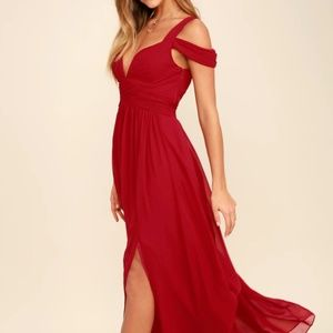 LULUS - Wine Red Maxi Dress (Size XXS)